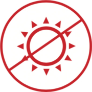 Symbol darstellt, dass man Hitze und Kälte vermeiden soll.