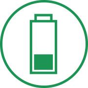 Symbol, das darstellt den richtigen Umgang mit Batterien: Akkus nicht vollständig entladen